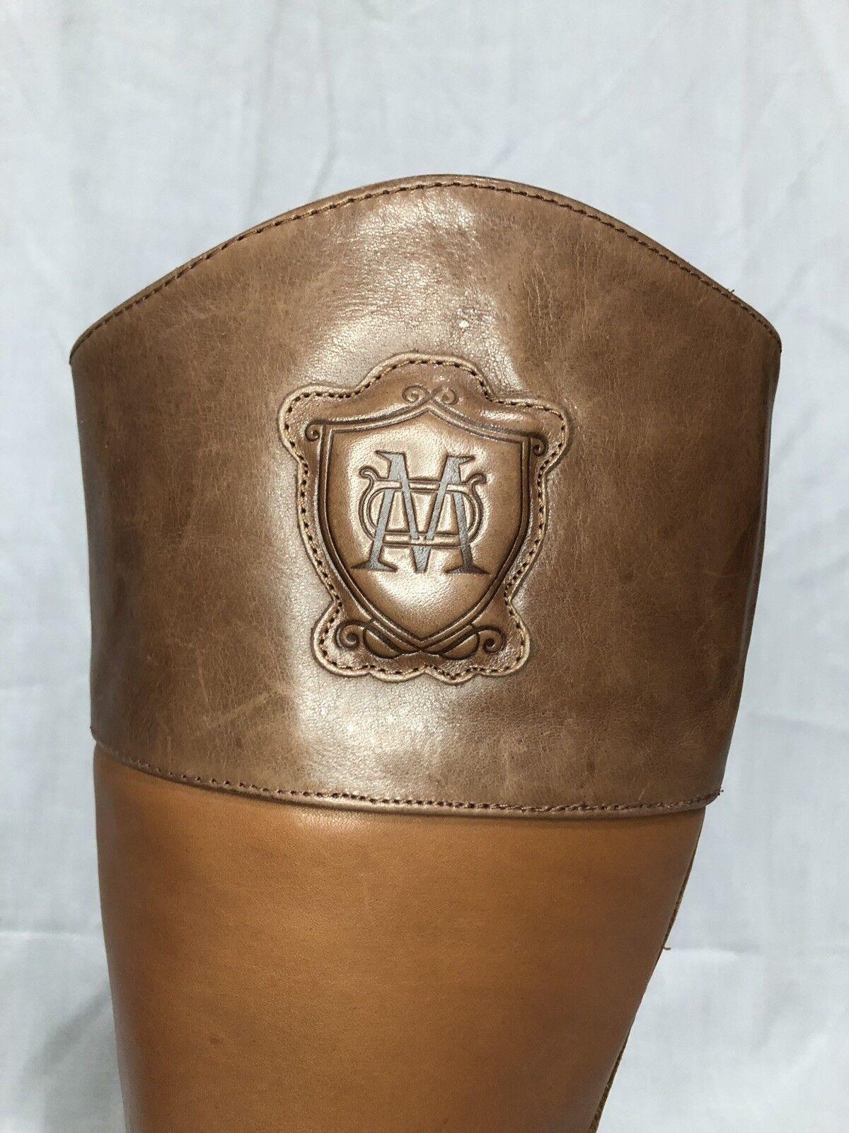 Massimo Dutti Caramel Braun logo Leder Zip Zip Zip tall riding Stiefel Größe 36, US 6 95e712