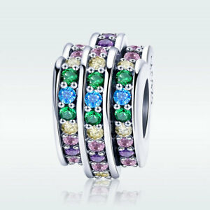 Rainbow-Heart-S925-Sterling-Silver-Charm-Colorful-CZ-Bead-For-Fashion-Bracelet