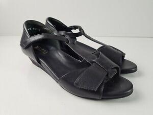 Ziera-Black-Leather-T-Bar-Comfort-Sandal-Heel-Shoe-Women-039-s-Size-EUR39-Low-Wedge