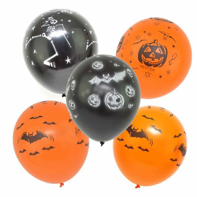 48 X Halloween Balloons Orange Black Party Decorations Bat Pumpkin Skeleton