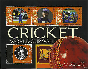 NEVIS-2011-ICC-CRICKET-WORLD-CUP-SRI-LANKA-TEAM-KUMAR-SANGAKKARA-4v-Sheet-MNH