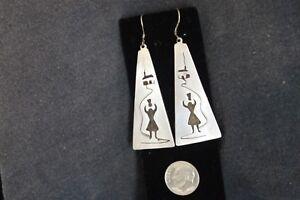Vintage-Ethnic-Sterling-Silver-Dangle-Earrings