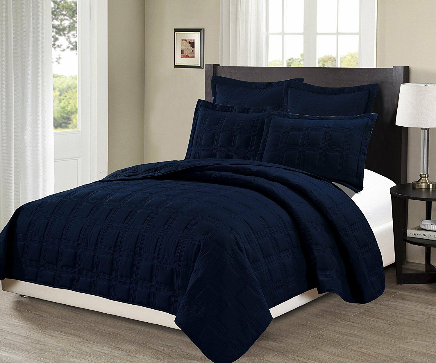 Fancy Linen 3pc Oversize Target Quilted Embroidery Solid Navy bluee Bedspread New