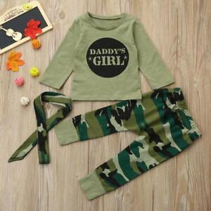 96071d1e Newborn Baby Kids Boys Girls Camo T-shirt Tops Pants Outfits Set ...
