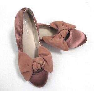 945070d098e4 Kenneth Cole Women s Rose Mauve Pauline Satin Suede Bow Ballet Shoes ...