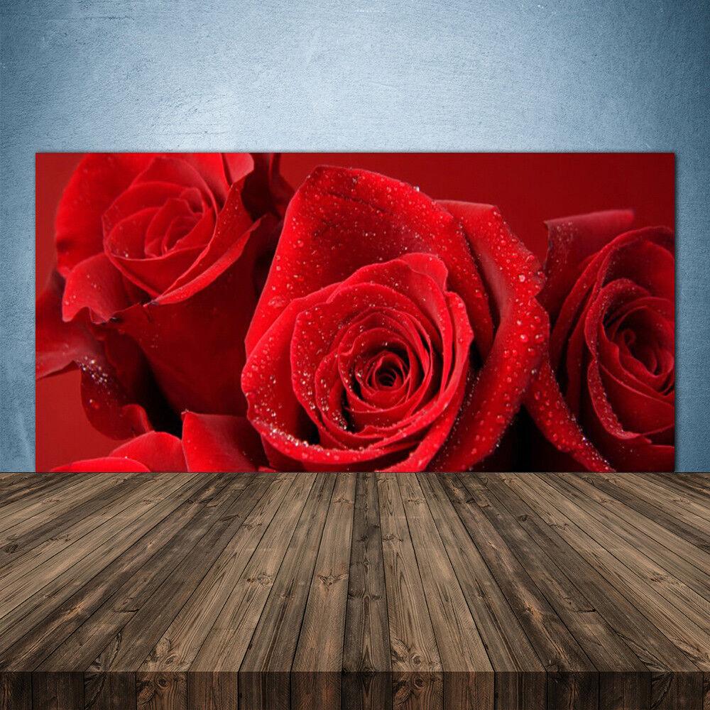 Crédence de cuisine en verre Panneau 140x70 Floral Roses