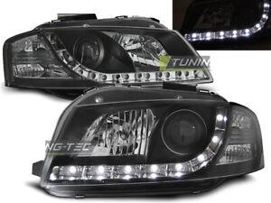 Coppia-di-Fari-Anteriori-LED-DRL-Look-AUDI-A3-8P-2003-2008-Daylight-Neri-SONAR-I