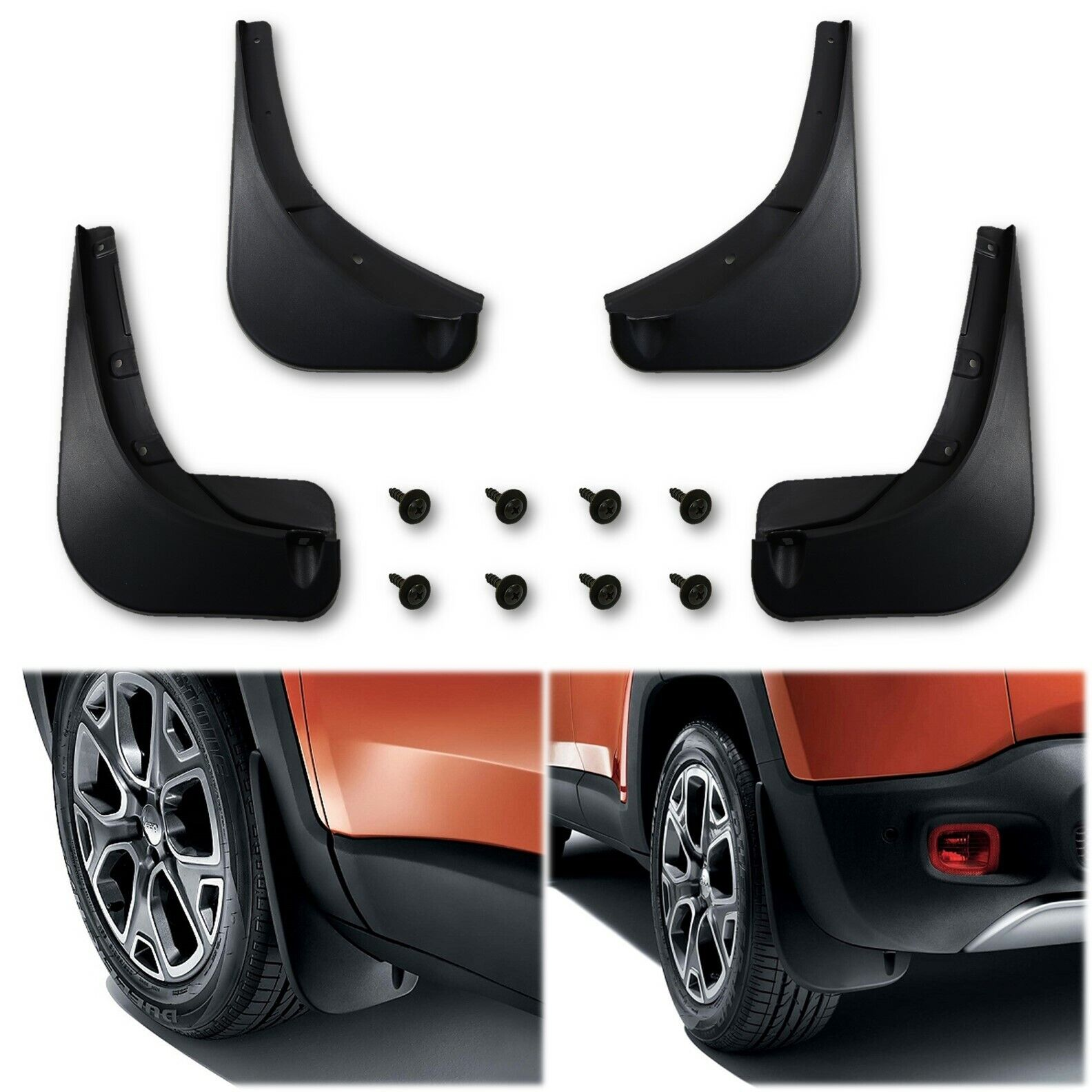 Front & Rear Black Molded Mud Flaps Splash Guards For 2015-2017 Jeep Renegade
