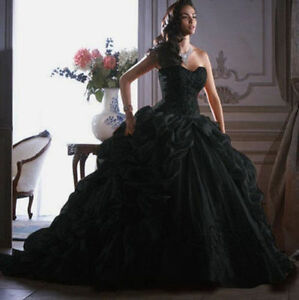 Image is loading Black-Masquerade-Wedding-Dress-Formal-Bridal-Evening-Prom- c8c291c0e