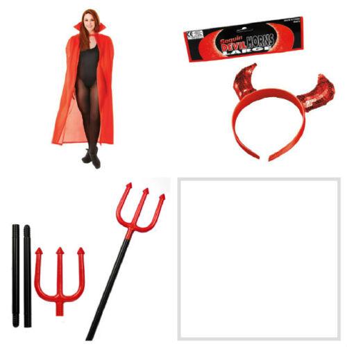 Adulti Rosso Mantello Cloak include DIAVOLO CORNA E Trident HALLOWEEN FANCY DRESS