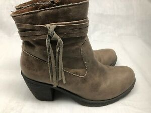 Born-Women-s-Brown-Faux-Suede-Ankle-Boots-Side-Zip-3-Stacked-Heel-Size-8-5M