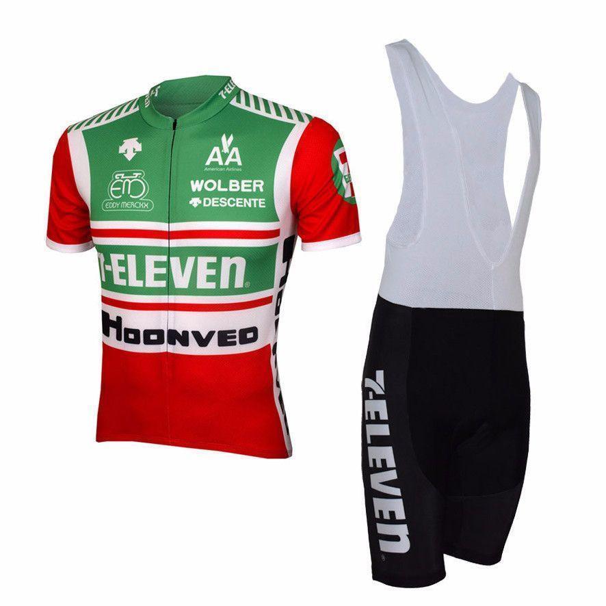 7-Eleven Retro Men Bib Short Sleeve Cycling Set Clothing Breathable Maillot Ropa
