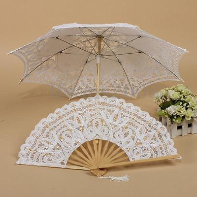 Vintage handgemachte Sonnenschirm Spitze Braut Schirme Hochzeit MIT Handfächer