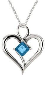 Sterling Silver Genuine 0.65 tcw. 5mm Blue Topaz Heart Pendant