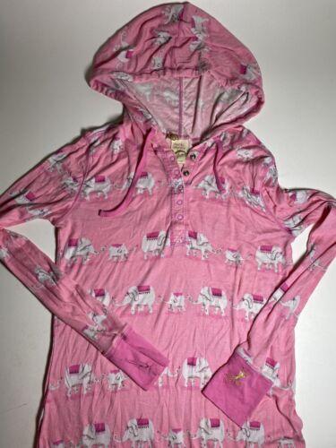 Munki Munki Hooded Nightgown Size Large Pink Eleph