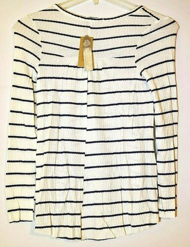 Details about  /American Rag Juniors Top Size L /& M Striped High Low Top White Blue Long Sleeve
