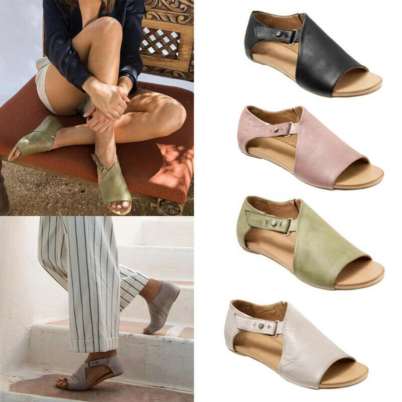 Womens Ladies Peep Toe Buckle Flat Sandals Summer Holiday Boots Shoes Size 3.5-8 3