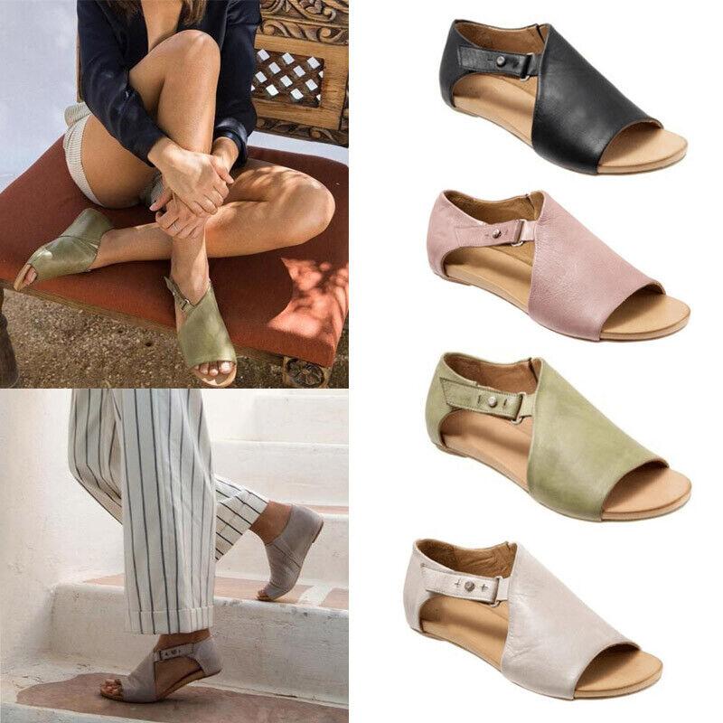 womens peep toe buckle flat heel sandals