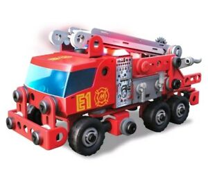 Meccano and Erector Junior and Rescue Fire Truck With Lights And Model New