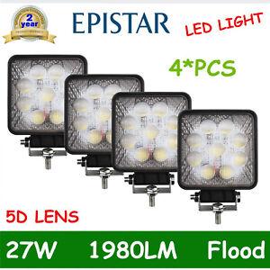 4X 27W LED Work Light Fogs Truck OffRoad Tractor Flood Lights 12V 24V Square 5D+