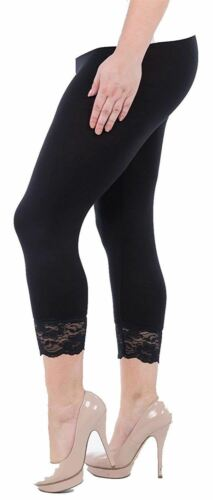 Womens 3//4 Workout Lace Cropped Under Knee Capri Workout Sports Leggings 12-30