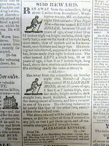 Rare original 1830 Hagerstown MD newspaper with 2