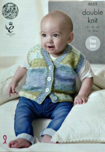 KNITTING PATTERN BabyEasy Knit Sleeveless Waistcoats /& Jumpers DK King Cole 4655