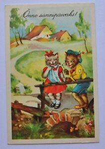 Image Is Loading 1930s Estonia Vintage Comic Postcard Human Cat Cats