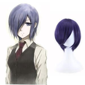 Tokyo Ghoul Badger Kirishima Toka Blue Purple Face Cover Short Hair Cosplay Wig Ebay