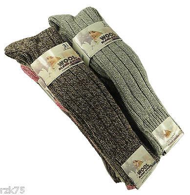 6 Paia Da Uomo Spesso Grosso Lana Lavoro Escursionismo Calze Stivale caldo Taglia UK 6-11 fbghsb