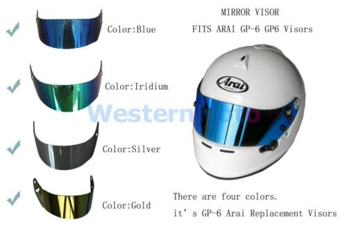 ARAI MIRROR VISOR FITS ARAI GP-6 GP6 Visors blue silver glod and irudium