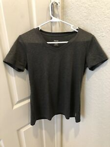 Womens-Reebok-Play-Dry-Charcoal-Gray-Athletic-Short-Sleeve-Shirt-Top-Size-M