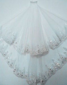 New-2T-White-Ivory-Elbow-Beaded-Edge-Sequins-Wedding-Bridal-Veil-With-Comb