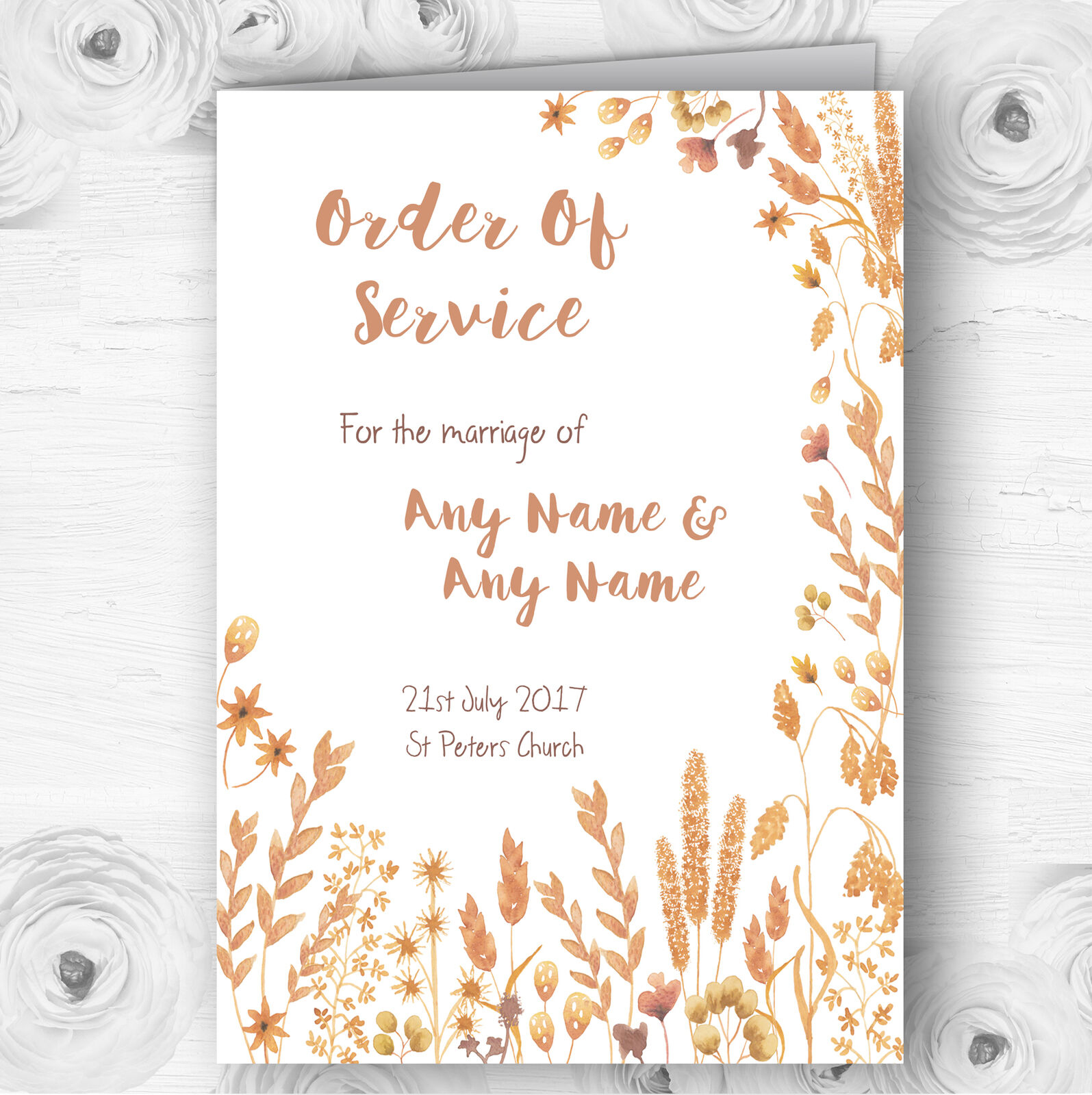 Golden Autumn Leaves Watercolour Wedding Double Sided Cover Order Of Service