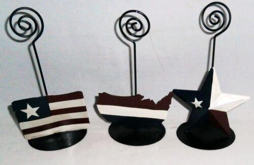 PATRIOTIC PHOTO HOLDERS  Set of 3   STAR,MAP,FLAG