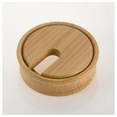 OAK Wooden Cable Ports / Grommets / Hole Tidies / Outlet | 80mm dia | Lacquered