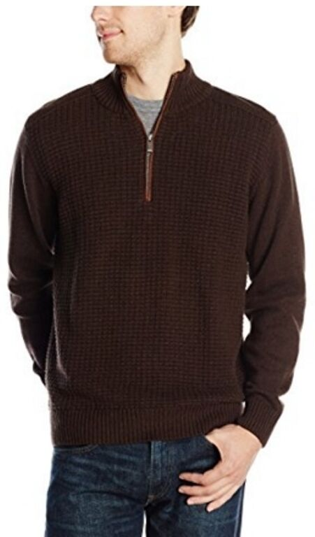 Tricot St. Raphael Men's 1 4 Zip Sweater W Faux Suede