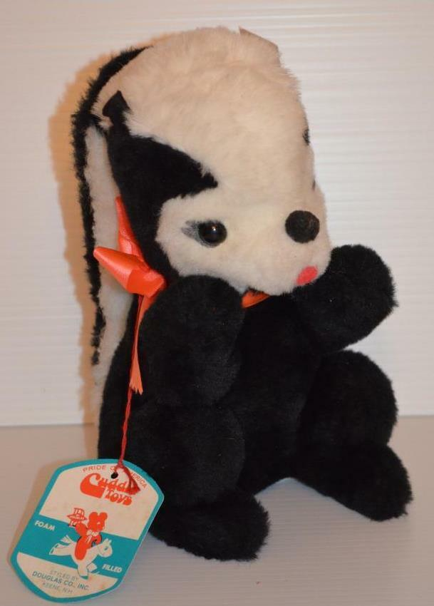 Vintage Skunk Douglas Cuddle Toys All Original Tags Foam Filled Plush RARE.