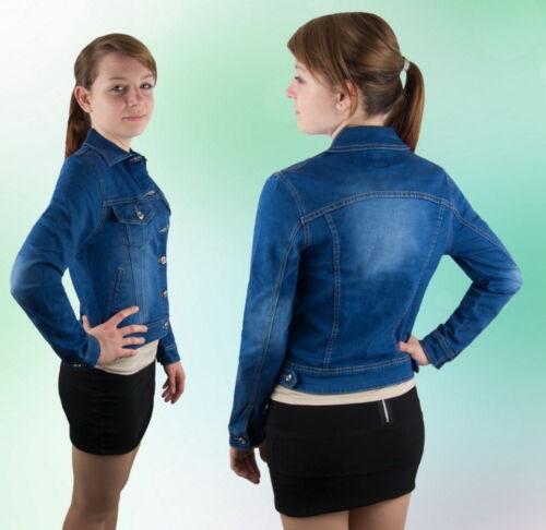 Damen Jeansjacke Jacke Kurz Knöpfe Blau Hellblau  M L  XXL