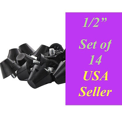 """New Replacement Sports Cleats Studs - Poly Tipped - 1/2"""" inch 0.5"""" Set of 14 PCS"""