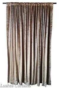 "Gold Velvet Curtain 96"" H Thermal Window Treatment Panel Drape w/Rod Pocket Top"