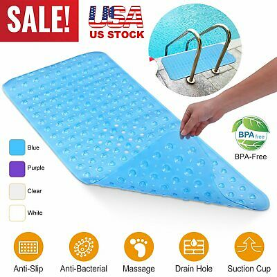 New Bathtub Non Slip Shower Mat Massage Anti-Bacterial Washable W//Suction Cups