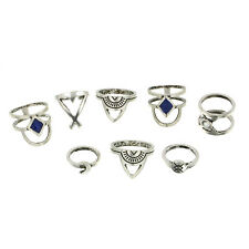 8Pcs/Pack Women Retro Vintage Boho Rings Chic Silver Ring Set Jewelry Gifts NEW
