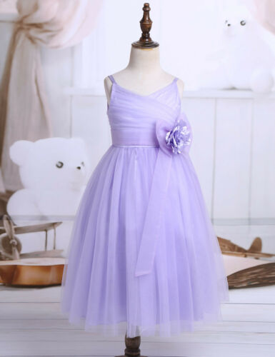 Girls Floral Lace Tulle Flower Girl Dress Princess Pageant Bridesmaid Party Gown