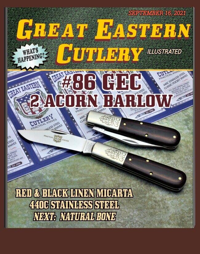 GEC #86 Great Eastern Cutlery Two Acorn Barlow Red & Black Linen Micarta 861121