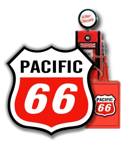 """GAS PUMP LUBESTER SASOLINE 8/"""" PACIFIC GASOLINE MOTOR OIL SOLDIER DECAL CAN"""