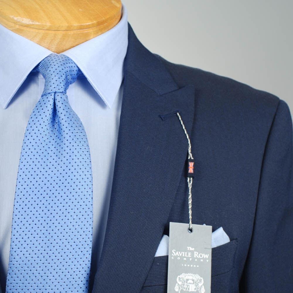 44R SAVLE ROW Solid Navy Blau Suit - 44 Regular  Herren Suits - SR01