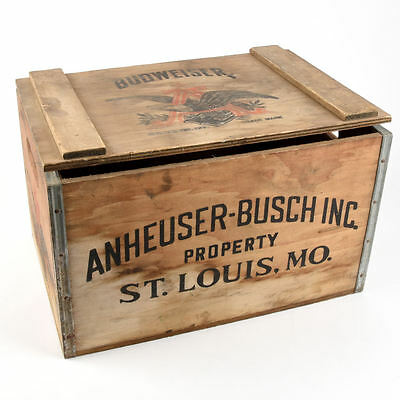 VINTAGE Anheuser Busch BUDWEISER BEER Antique WOOD CRATE BOX