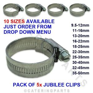PACK-5-x-GENUINE-JUBILEE-PIPE-HOSE-CLIPS-STEEL-VARIOUS-SIZES-FROM-9mm-to-50mm