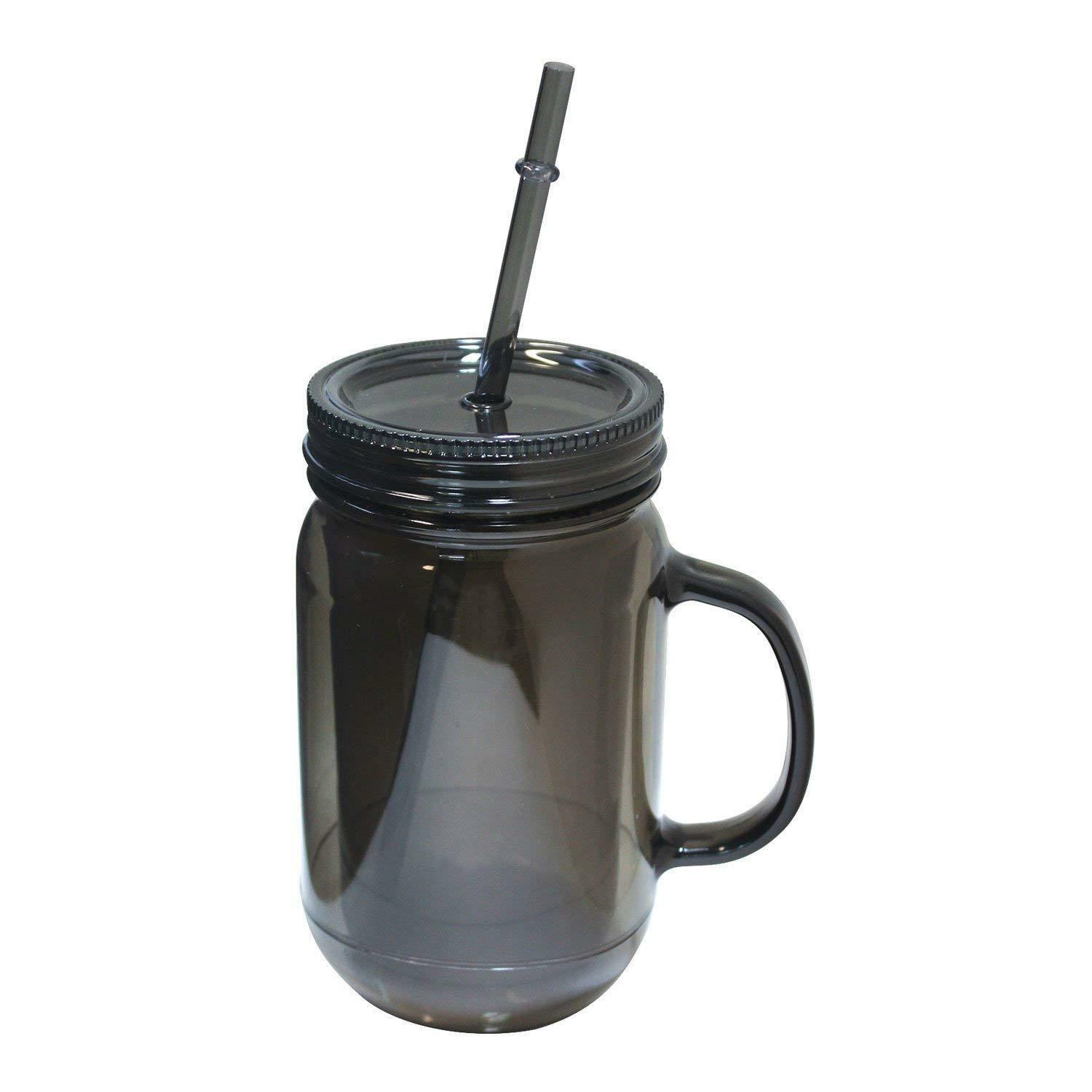 Ergohub 20 Oz Mason Jar Doubled wall Acrylic Cup with Straw Tumbler Mug w Handle